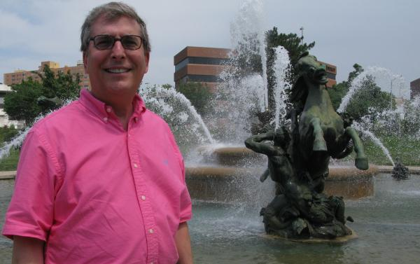 The J.C. Nichols Memorial Fountain — a familiar landmark in Kansas City, Mo. — is a popular meeting place for Goldman's characters. The author's family has lived in Kansas City, Mo., for four generations.
