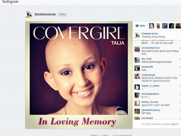 On <em>The Ellen Show</em>'s Instagram page, a memorial for Talia.
