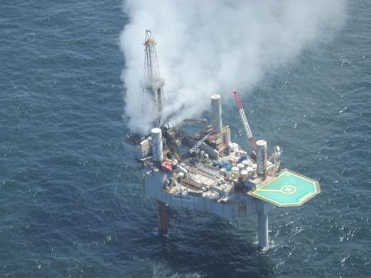 Before a blaze broke out, a cloud of gas could be seen rising Tuesday from the Hercules 265 drilling rig off the coast of Louisiana.