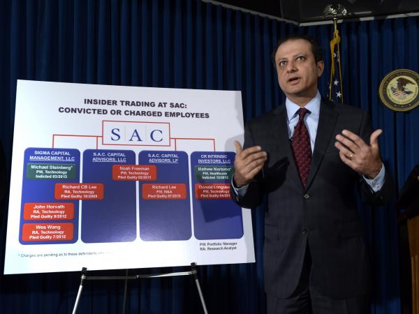 Preet Bharara, United States Attorney for the Southern District of New York, speaks at a news conference on Thursday about a federal indictment against SAC Capital.