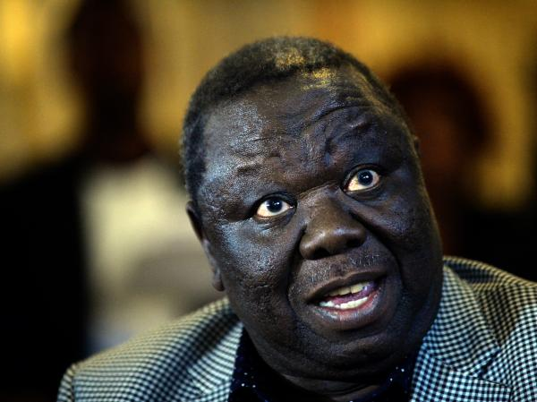 Prime Minister Morgan Tsvangirai speaks to the media in Harare on Saturday. He has accused Mugabe's party of vote fraud.