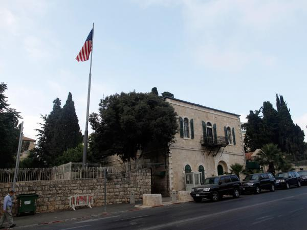 An American flag flies over the U.S. Consulate in Jerusalem on Sunday.