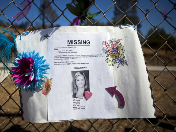 A sign for missing California teenager Hannah Anderson hangs on a fence at El Capitan High School in the Lakeside neighborhood of San Diego County.