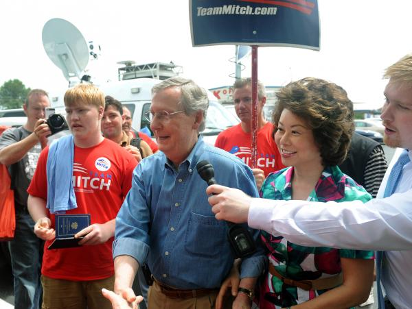 U.S. Sen. Mitch McConnell (R-Ky.) greets supporters during the 133rd Annual Fancy Farm Picnic in Fancy Farm, Ky., Saturday, Aug. 3, 2013.
