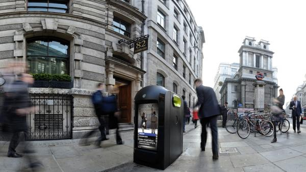 A promotional image from Renew shows one of its recycling/advertising kiosks in London. City officials asked the company to stop recording data about the phones of passing pedestrians.