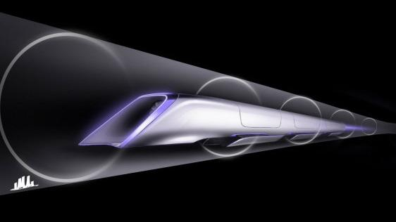 A rendering of the proposed Hyperloop's passenger transport capsule.