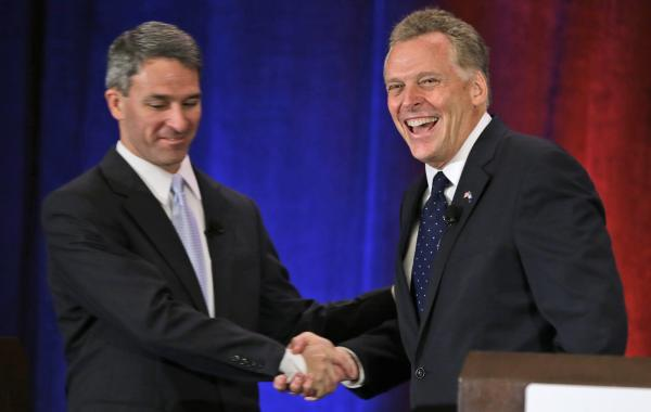 Ken Cuccinelli, the Republican nominee for Virginia governor, (left), is trailing Democratic opponent Terry McAuliffe (right) among female voters.