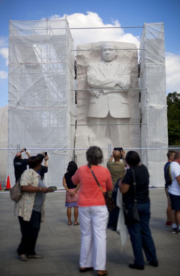 <strong>Under Construction:</strong> A recent survey of Americans found that fewer than half believe the U.S. has made substantial progress toward racial equality. Here, the Martin Luther King Jr. Memorial in Washington, D.C., is boxed in by scaffolding as work is done on it.