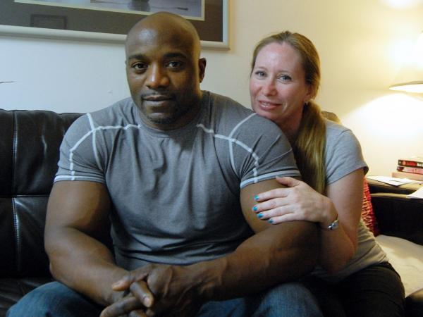 "Troy Wallace with his wife, Lynda.  Wallace is <a href=""https://www.documentcloud.org/documents/702194-wallace-sex-offender-lawsuit.html"">suing</a> Suffolk County, N.Y., contending its new sex offender monitoring law violates his civil rights."