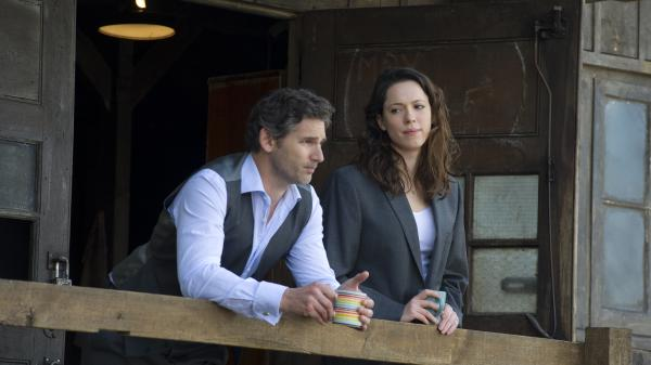 Eric Bana and Rebecca Hall play lawyerly allies with a complicated past — one that threatens to increase their present peril — in the surveillance-state thriller <em>Closed Circuit.</em>