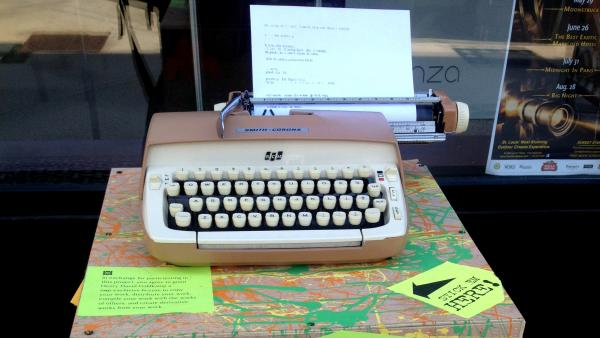 "A typewriter for the ""What The Hell Is St. Louis Thinking?"" project sits in the city's Central West End neighborhood. Poet Henry Goldkamp wants passers-by to stop and share their thoughts — without the luxury of a ""delete"" key."