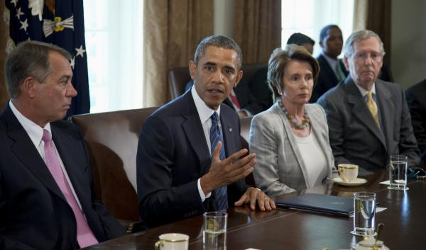 President Obama attends a White House meeting on Syria Tuesday with congressional leaders.