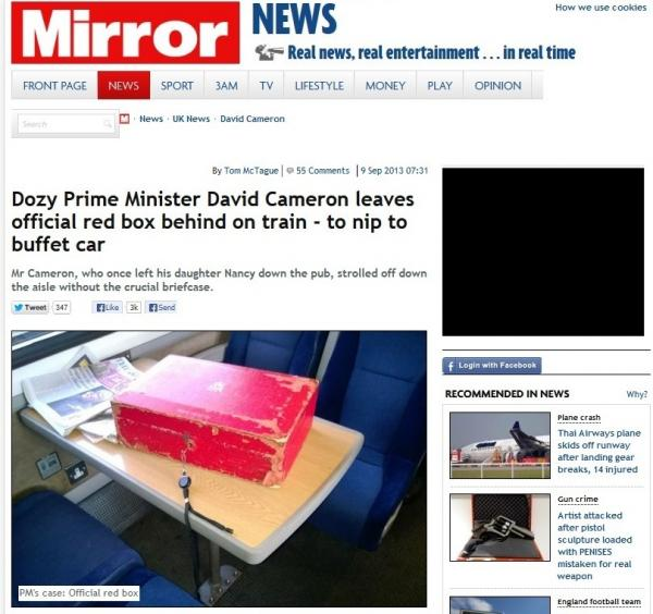 "The prime minister's ""red box,"" looking rather lonely, on a train Saturday from London to York. <em>The Mirror</em> made it front page news."