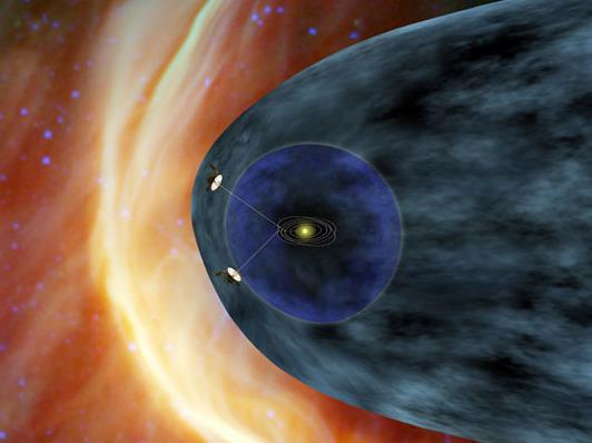 This illustration shows the two Voyager spacecraft near the outer shell of the bubble around our solar system.