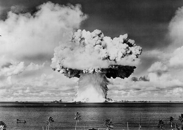 "An atomic cloud rises July 25, 1946 during the ""Baker Day"" blast at Bikini Island in the Pacific."