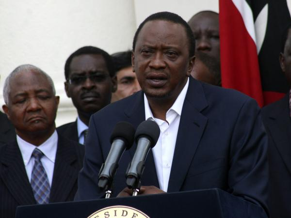Kenyan President Uhuru Kenyatta speaks on Sunday about the Westgate shopping mall attack the day before. Kenyatta, who was elected in March, faces charges at the International Criminal Court and is scheduled to go on trial in November.