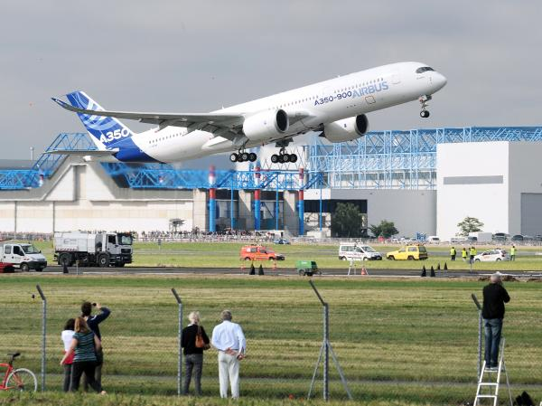 An Airbus A350-900 takes off from an airport in Toulouse, France, on its maiden flight. Japan Airlines reportedly has ordered 18 A350-900s and 13 A350-1000s.