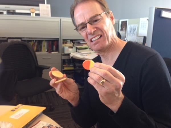 Robert deconstructs his cookie.