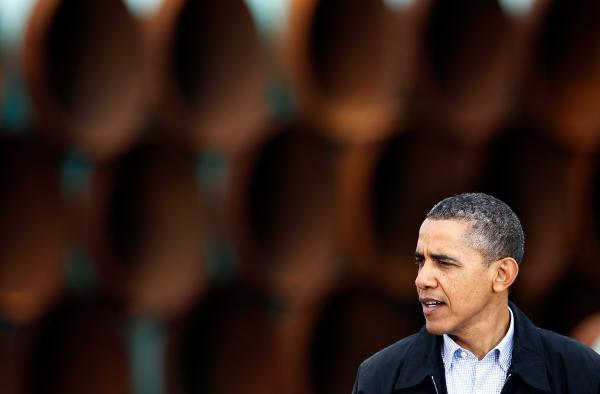President Obama speaks at the southern site of the Keystone XL pipeline in Cushing, Okla., in March 2012.