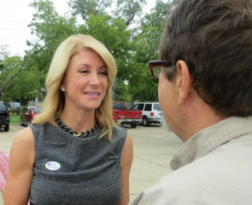 Wendy Davis, the Fort Worth Democrat who's running for governor, greeted a voter on Monday morning in Fort Worth.