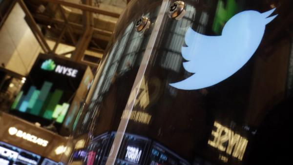 <strong>Will It Fly?</strong> The Twitter logo decorated a post on the floor of the New York Stock Exchange on Wednesday.