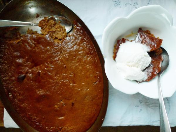 Indian pudding, served warm with vanilla ice cream — a dish well worth celebrating.