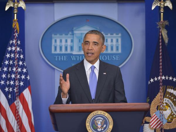 President Barack Obama speaking at the White House on Thursday.