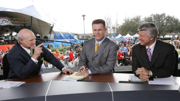 Fox sportscasters Terry Bradshaw, Howie Long and Jimmy Johnson appear during the 2005 Super Bowl pregame show in Jacksonville, Fla.