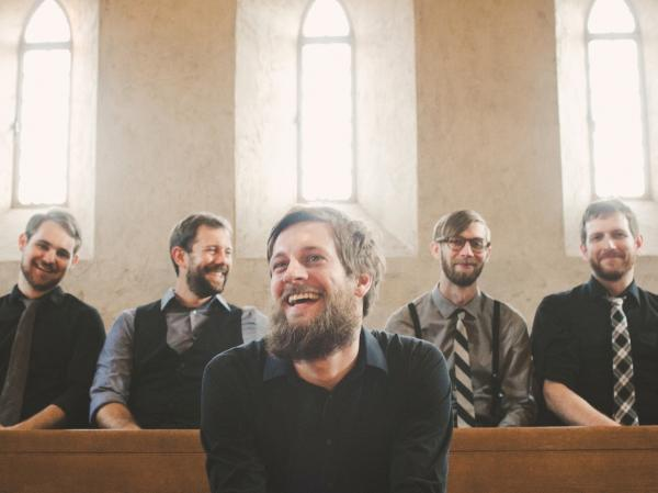 "Taylor Muse (front), lead singer of the Austin indie-rock band Quiet Company, says the group is ready to be seen as more than just ""the atheist band."""