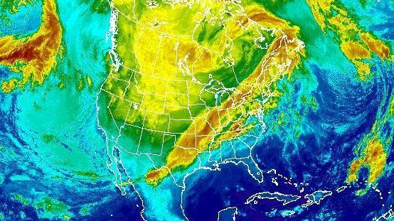 Snow and ice will hit a broad area from Texas to the Ohio Valley on Friday and Saturday, the National Weather Service says. This composite satellite image was taken at 6:15 a.m. ET Friday.