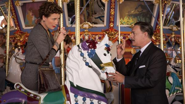 <em>Saving Mr. Banks</em> chronicles Walt Disney's (Tom Hanks) long campaign to persuade <em>Mary Poppins</em> author P.L. Travers (Emma Thompson) to allow his movie-musical adaptation of her books.
