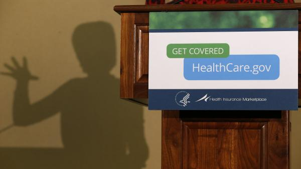 Health and Human Services Secretary Kathleen Sebelius' shadow appeared behind the lectern as she spoke about the implementation of the federal health law in Detroit in November.