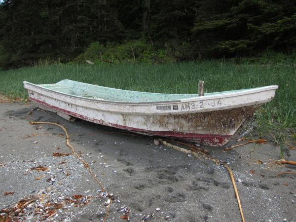 This fishing skiff, found on the Makah Reservation in mid-May, is the most recent confirmed item of Japanese tsunami debris to wash ashore on the Washington Coast.