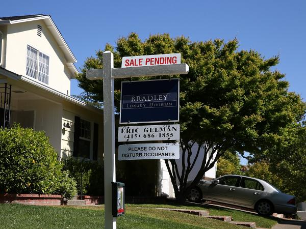 "A ""sale pending"" sign in front of a home in San Anselmo, Calif., earlier this year."