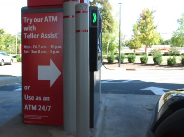 "An ATM in Charlotte, N.C., features ""teller assist,"" which allows users to video chat with a remote bank representative."