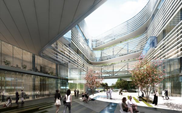 Samsung's new North American headquarters are designed so that no employee is more than one floor away from an outdoor garden.