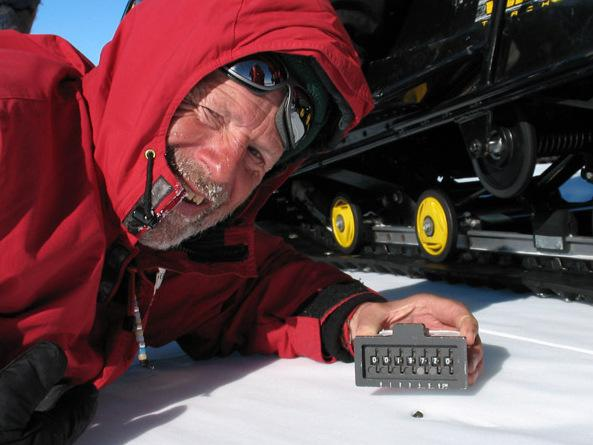 Some of the meteorites are as small as a pea. Mountaineer Shaun Norman shows off a sample.