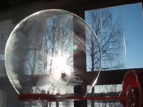 A bubble freezes in very cold weather.