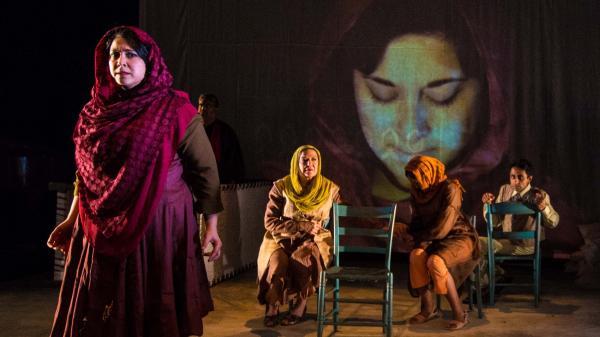 Left to right: Kamala Sankaram as Mukhtar Mai, Steve Gokool, Theodora Hanslowe, Leela Subramaniam, Kannan Vasudevan, Manu Narayan.