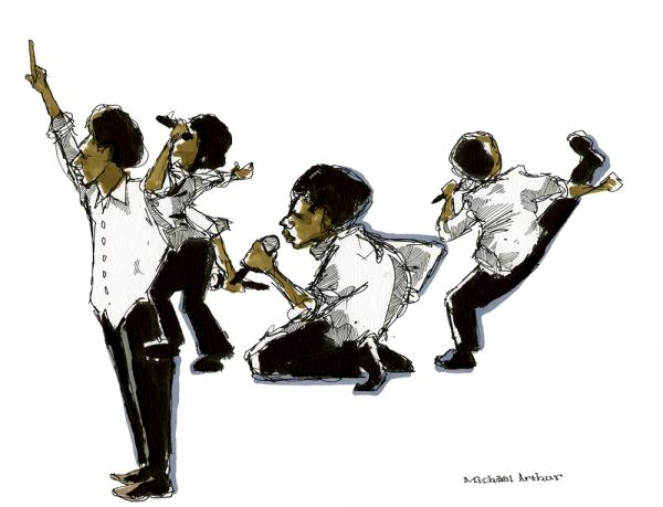 "<strong>Baloji: </strong>""This drawing began with the image of Baloji down on his knees. But when he rose and kicked his leg towards the horn section, I wanted to do more, so I embraced the challenge of trying to catch a few more of his moves in the drawing. When Baloji raised his hand and had the crowd do the same, it felt like the natural way to end the drawing."" - Illustrator Michael Arthur"
