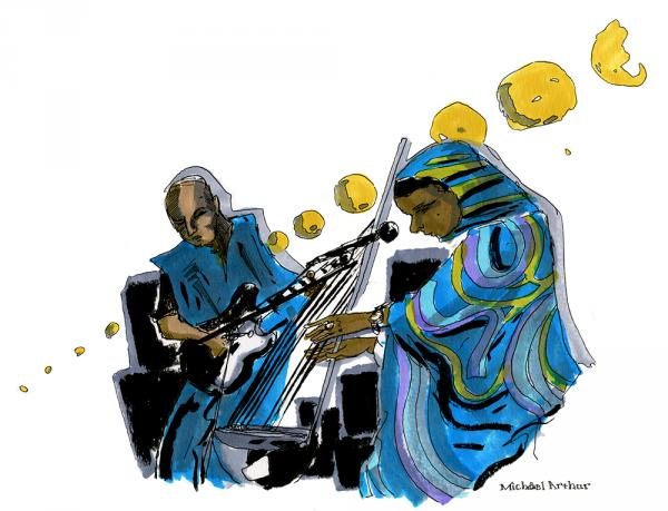 "<strong>Noura Mint Seymali: </strong>""I really loved the way that the Ardine and the electric guitar blended together in Noura Mint Seymali's set. It was the perfect inspiration as I played with the colorful folds and patterns of Seymali's robes."" <em>--Illustrator Michael Arthur</em>"