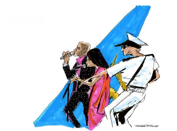 "<strong>The Bombay Royale:</strong> ""When I started this sketch, I was watching the way the saxophonist had his arm outstretched. I built the drawing around that gesture. I should add that musicians wearing great costumes make my work a lot more fun."" <em>--Illustrator Michael Arthur</em>"