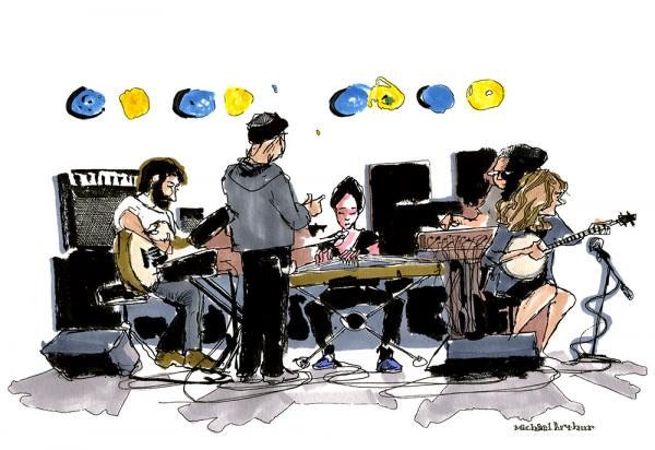 "<strong>The Wu-Force (Soundcheck):</strong> ""This is a warm-up drawing about warming up. I've known the visionary banjo player, singer-songwriter Abigail Washburn for a good while, having first met her at Joe's Pub where I draw a lot of performers, so it felt right to start the day with her and her current collaborators."" <em>--Illustrator Michael Arthur</em>"
