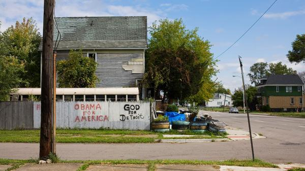 A corner in Poletown, the section of Detroit where Drew Philip bought a house for $500.