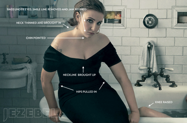 A screenshot of Jezebel's analysis of a Vogue magazine photo of Lena Dunham. (Jezebel)