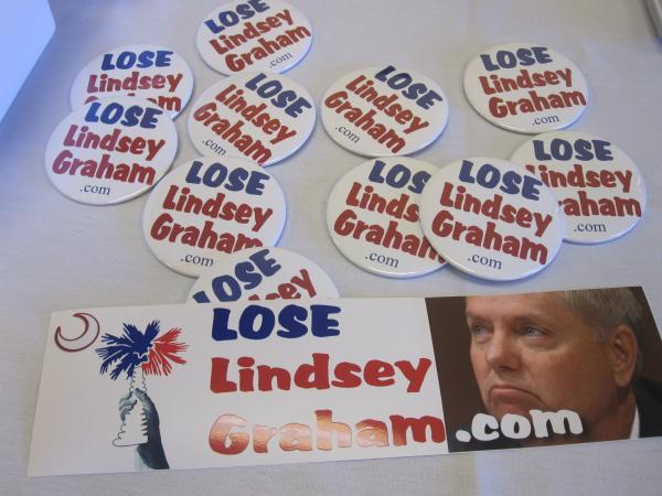 A sampling of anti-Graham campaign paraphernalia from the South Carolina Tea Party Coalition Convention in Myrtle Beach, S.C.