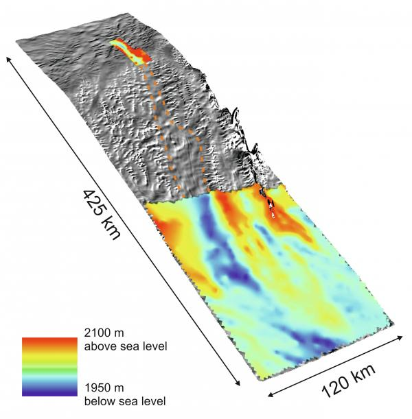 Gray terrain represents previously unrecorded areas beneath the ice in West Antarctica. The valley is demarcated by the dotted line.