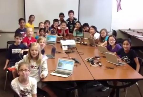 "Janice Mak's computer class of 3rd and 4th graders makes an appearance in a <a href=""https://www.youtube.com/watch?v=FC5FbmsH4fw"">Youtube video</a> encouraging people to participate in the <a href=""http://csedweek.org/"">Hour of Code</a>."