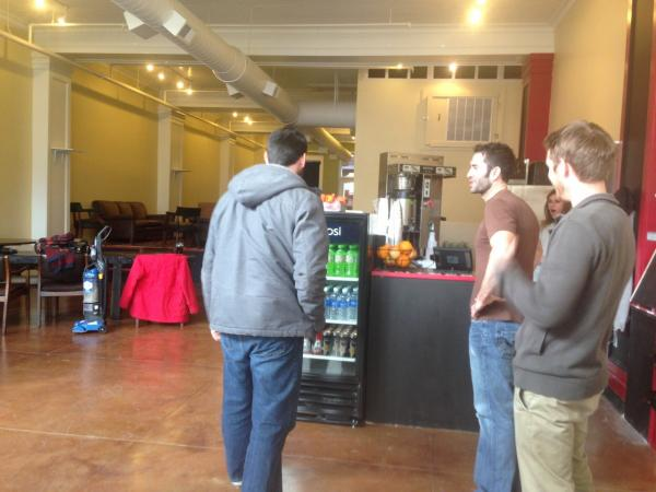 Logan, Matt, Zena and Sean inside Intrepid Life Coffee & Spirits. (Robin Young/Here & Now)