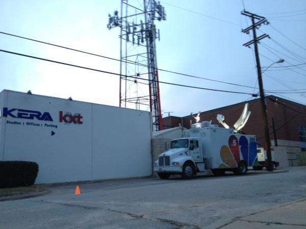 A satellite truck from KXAS-TV (Channel 5), outside the KERA studios.